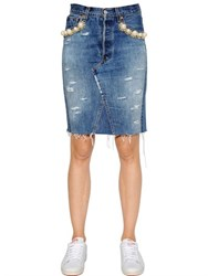Forte Couture Embellished Cotton Denim Pencil Skirt