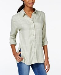 Stoosh Juniors' Plaid Button Front High Low Shirt Olive Plaid