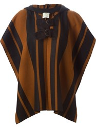 Forte Forte Striped Hooded Jacket Brown