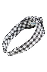 L. Erickson 'Narrow Knot' Turban Headband Black Wide Gingham Black