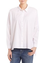 Eileen Fisher Boxy Button Front Blouse White