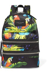 Marc Jacobs Leather Trimmed Printed Shell Backpack Black