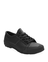 Hunter Lace Up Lo Top Rain Sneakers Black