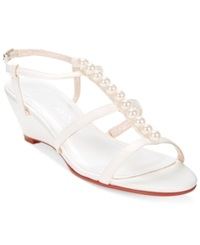 Caparros Sullivan Wedge Evening Sandals Women's Shoes Ivory Sateen