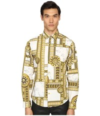 Versace Marbled Kaleidoscope Print Long Sleeve Button Up White Gold