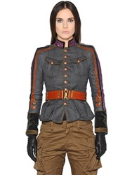 Dsquared2 Military Style Wool Twill Jacket