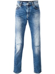 Versace Collection Distressed Straight Leg Jeans Blue