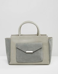 Pieces Winged Tote Bag With Envelope Detail Front Pocket Grey