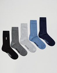 Green Treat 5 Pack Bamboo Sock Pack Black Navy Grey