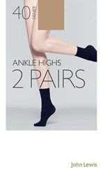 John Lewis 40 Denier Ankle High Socks Pack Of 2 Camel