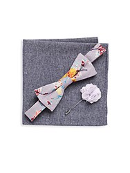 Original Penguin Three Piece Floral Printed Bow Tie Lapel Pin And Checkered Pocket Square Set Lavender