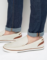 Aldo Montessoro Slipon Leather Boat Shoes White