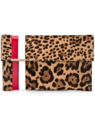 Tomasini Striped Leopard Print Clutch Brown