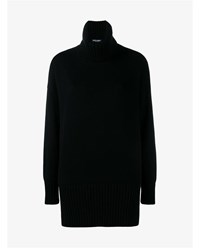 Dolce And Gabbana Oversized Roll Neck Cashmere Sweater Black Denim