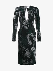 Erdem Metallic Floral Print Embroidered Dress Black Silver Metallic Silver Green Mink
