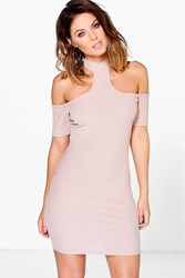 Boohoo Ribbed Cold Shoulder Bodycon Dress Sand