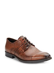 Bacco Bucci Burnished Leather Lace Up Oxfords Dark Brown