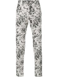 Gucci Tailored Floral Print Trousers White Grey Cream