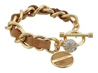Guess Faux Ostrich Woven Through Chain Toggle Bracelet Gold Cognac Bracelet Khaki