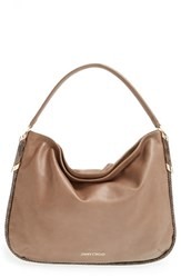 Jimmy Choo 'Zoe' Leather Hobo Brown Mink