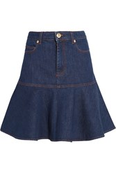 Sonia Rykiel Ruffled Stretch Denim Mini Skirt Blue