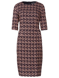Sugarhill Boutique Jamie Spot Shift Dress Navy Peach