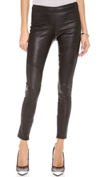 David Lerner Clean Side Zip Leather Leggings Black