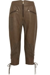 Chloe Cropped Nubuck Paneled Leather Tapered Pants Army Green