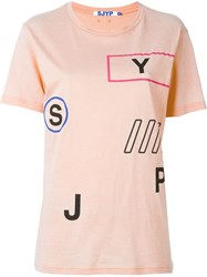Steve J And Yoni P Print Details T Shirt Pink And Purple