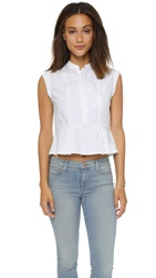 Madewell Cropped Wide Peplum Top Pure White