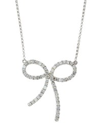 Diana M. Jewels 18K White Gold Pave Diamond Bow Pendant Necklace