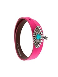 Alexander Mcqueen Jewelled Eye Double Wrap Bracelet Pink And Purple