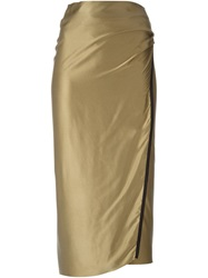 Isabel Benenato Metallic Wrap Skirt Green