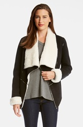 Karen Kane 'Moon Dance' Faux Shearling Lined Jacket Black