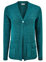 Eastex One Button Tape Yarn Cardigan Turquoise