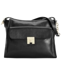 Tommy Hilfiger Th Turnlock Textured Leather Hobo Black