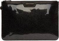 Jimmy Choo Black Houndstooth Glitter Pouch