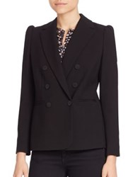 Rebecca Taylor Solid Double Breasted Coat Black