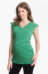 Women's Japanese Weekend Maternity Cross Front Nursing Top Green