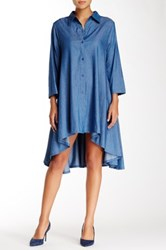 Gracia Hi Lo Denim Shirt Dress Blue