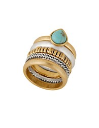 Lucky Brand Reconstituted Calcite Two Tone Stacked Ring Turquoise