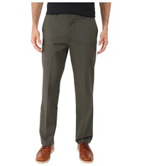 Dockers Signature Khaki D1 Slim Fit Flat Front Olive Grove Men's Dress Pants Brown