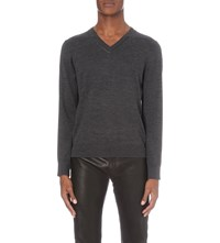 The Kooples Leather Trim Wool Jumper Grey