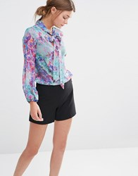 Closet Floral Print Long Sleeve Pussy Bow Blouse Multi