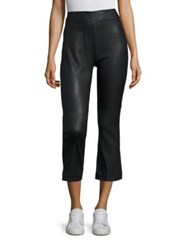 Iro Beck Leather Cropped Flared Pants Black