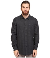 Rvca That'll Do Twist Long Sleeve Woven Pirate Black Men's Clothing