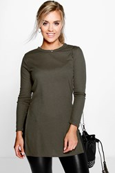 Boohoo Shelley Side Split Rib Unit Jumper Khaki
