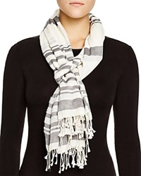 Dkny Pure Striped Fringe Scarf Black