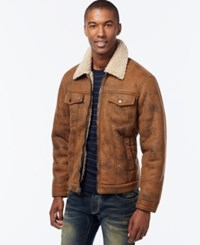 Inc International Concepts Zip Front Jacket With Faux Shearling Collar Only At Macy's Dark Brown