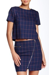 Romeo And Juliet Couture Short Sleeve Plaid Blouse Blue
